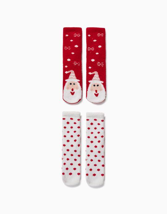 2 Pares Meias Antiderrapantes para Criança 'Christmas', Vermelho/Branco