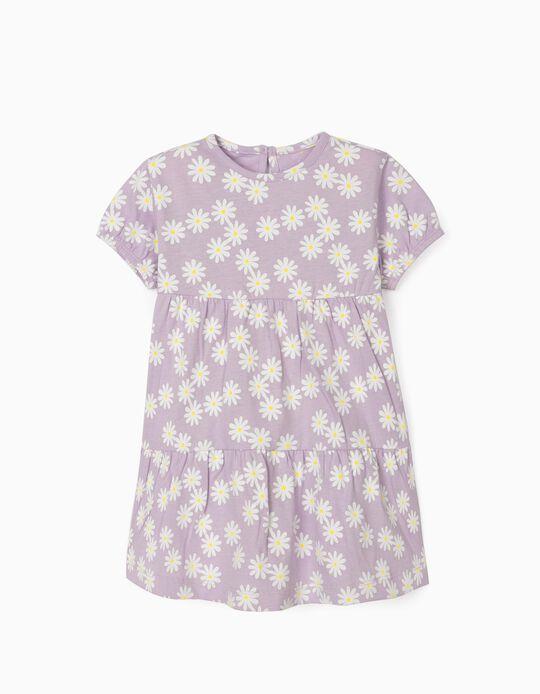 Vestido Jersey para Bebé Menina 'Flowers', Lilás