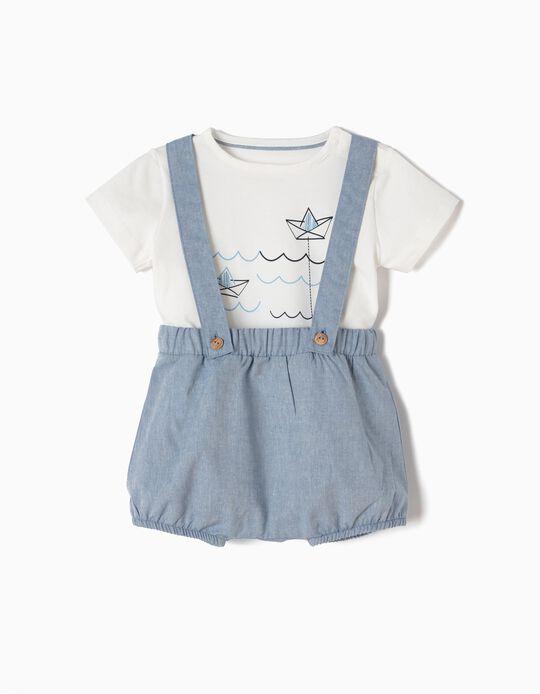 Macacão e T-shirt para Recém-Nascido, Azul e Branco