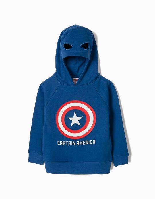 Sudadera con Capucha Máscara para Niño 'Captain America', Azul