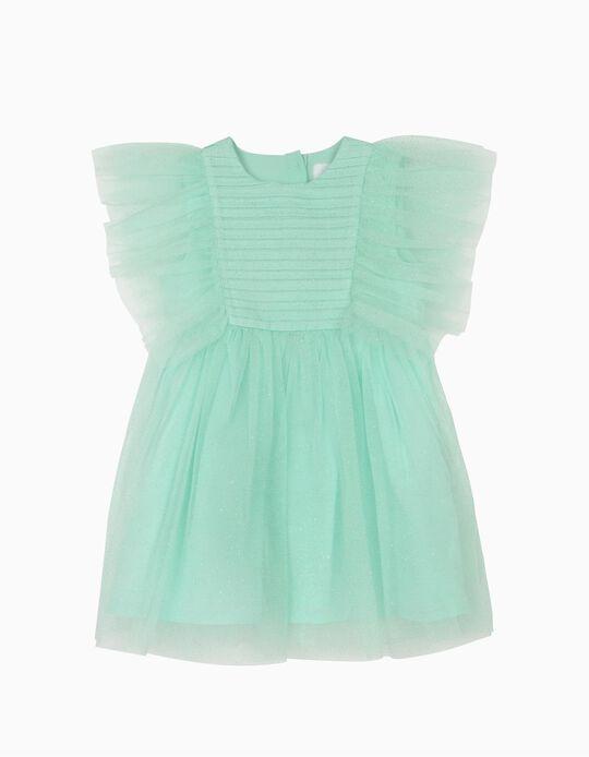 Vestido Tule para Bebé Menina, Verde Água