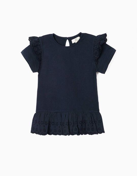 T-shirt com Bordado Inglês para Menina, Azul Escuro