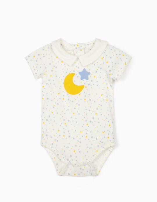 Bodysuit for Babies, 'Moon & Stars', White