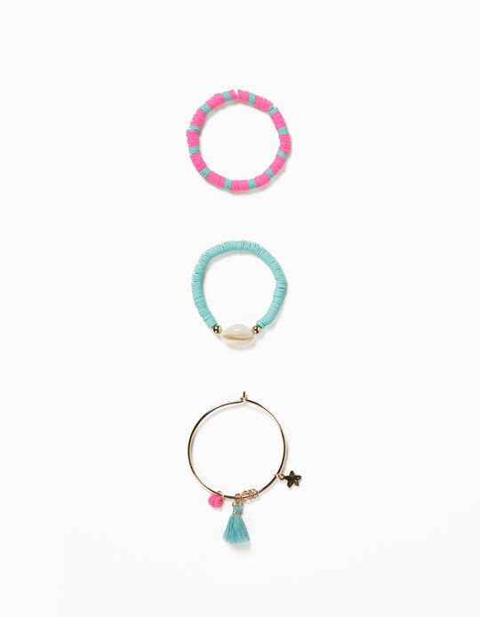 3 Bracelets for Girls, 'Sea Elements', Gold/Blue/Pink