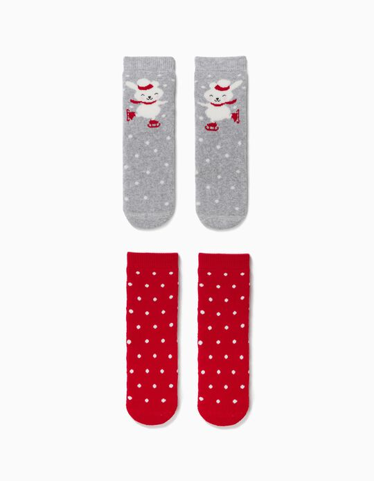 2 Pares de Calcetines Antideslizantes Bebé 'Christmas Bunny' Rojo/Gris