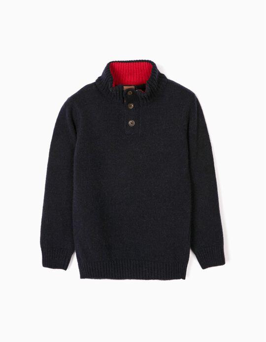 Camisola Lã para Menino com Cotoveleiras, Azul Escuro