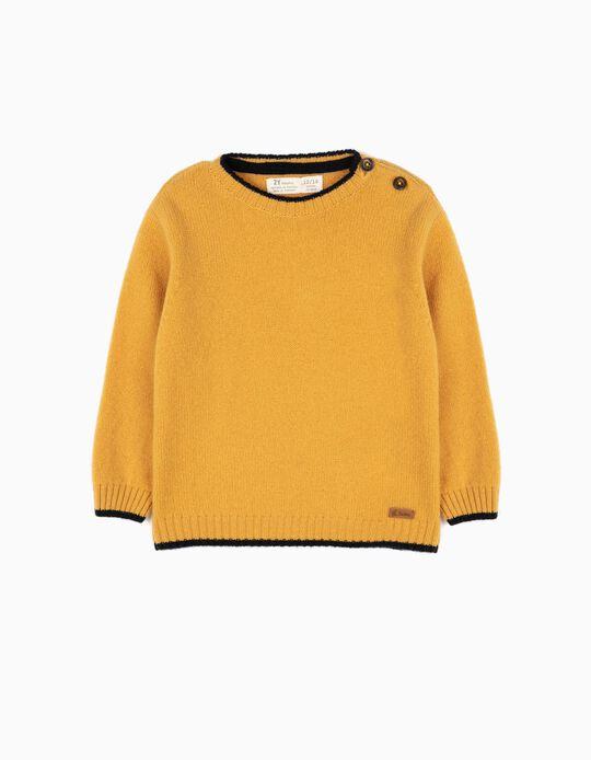 Camisola de Lã Bebé Menino Amarela