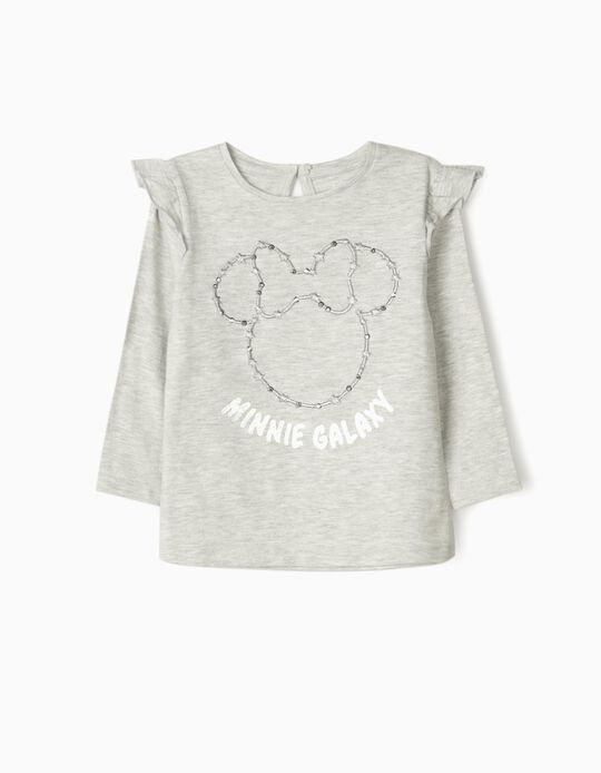T-shirt Manga Comprida para Bebé Menina 'Minnie Galaxy', Cinza