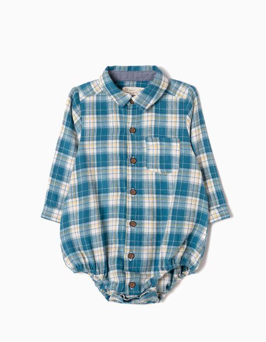 Body-Camisa Xadrez com Bolso