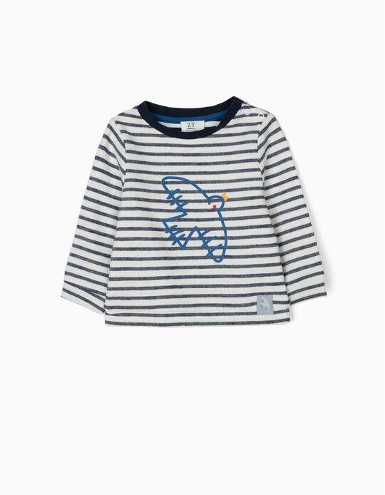 Sweatshirt para Recém-Nascido 'Bird' Riscas, Branco e Azul