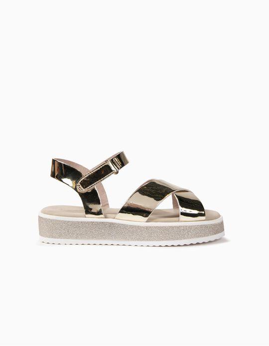 Sandálias Brilhantes para Menina, Dourado