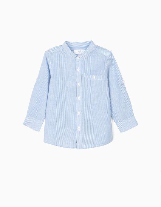 Camisa para Bebé Niño con Cuello Mao a Rayas, Azul