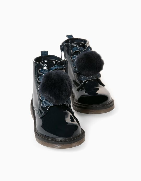 Lacquer Boots with Pompoms for Baby Girls, Dark Blue