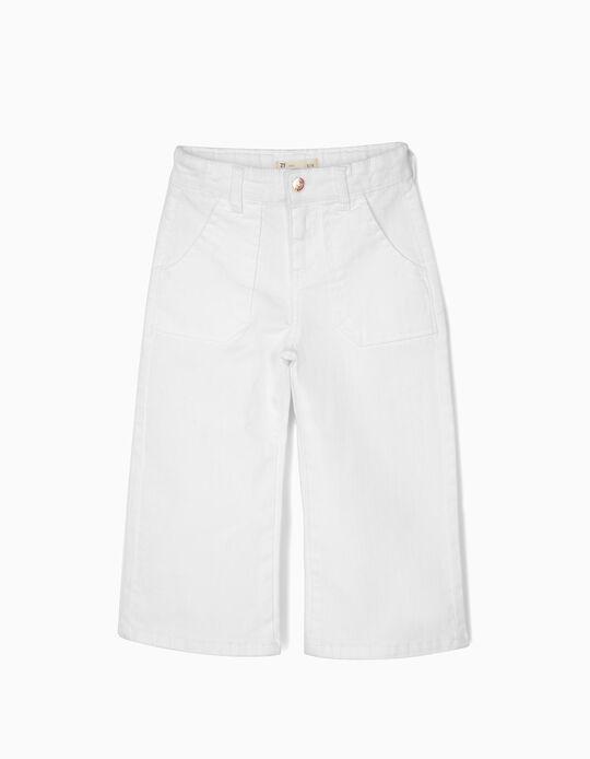 Calças Culottes para Menina, Branco
