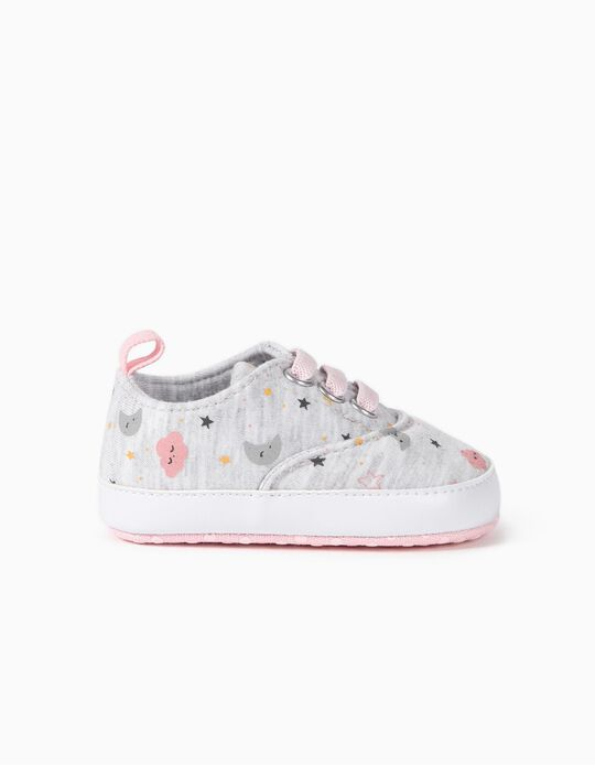 Fabric Trainers for Newborn Girls 'Clouds', Grey/Pink