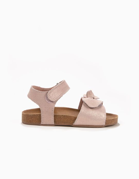 Suede Sandals with Bow for Girls, Pink