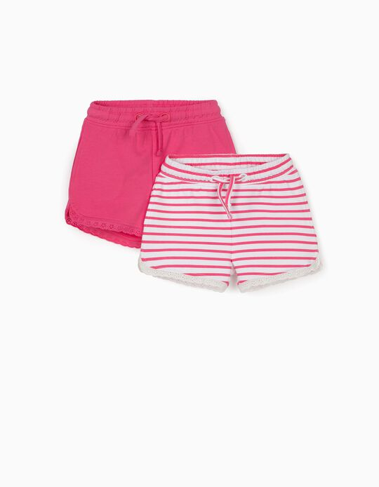 2 Pairs of Shorts for Baby Girls, White/Pink