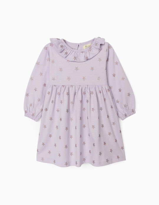Vestido Jersey para Bebé Menina 'Stars', Lilás