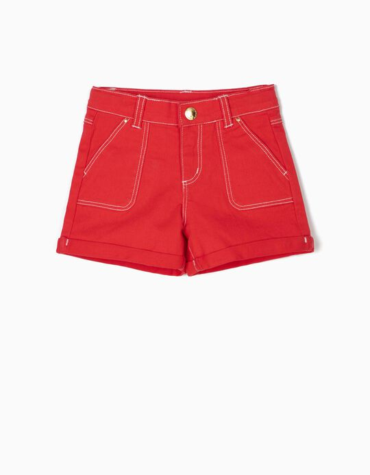 Twill Shorts for Girls, Red