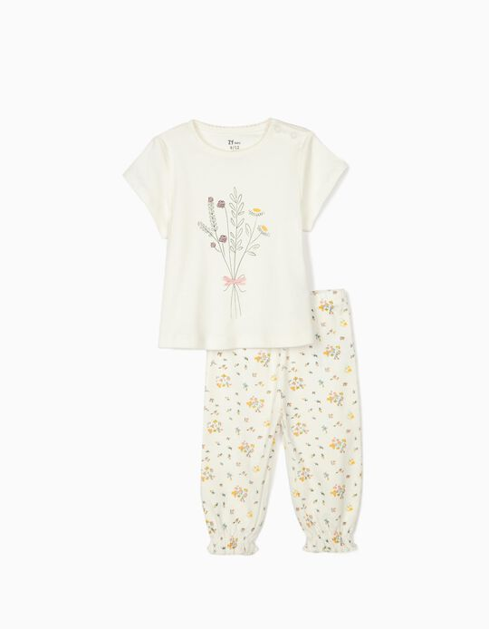 Short Sleeve Pyjamas for Baby Girls, 'Flowers', White