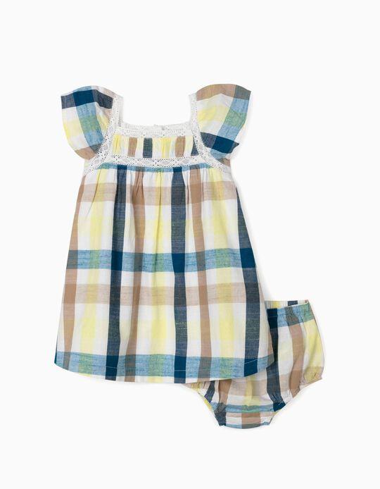 Vestido e Tapa-Fraldas Xadrez para Bebé Menina 'B&S', Multicolor