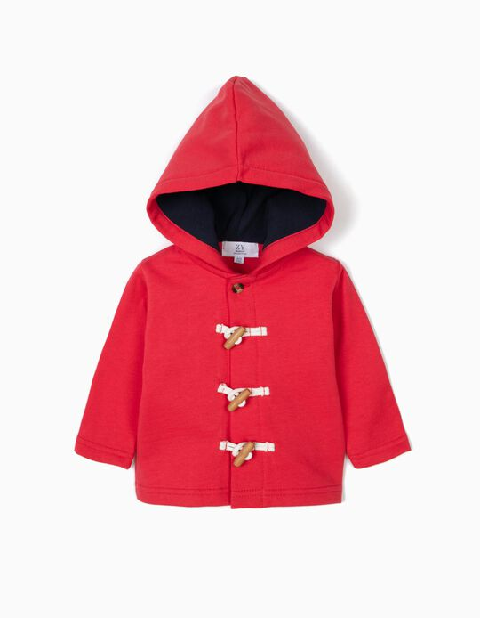 Hooded Jacket with Wooden Buttons for Newborn, Red