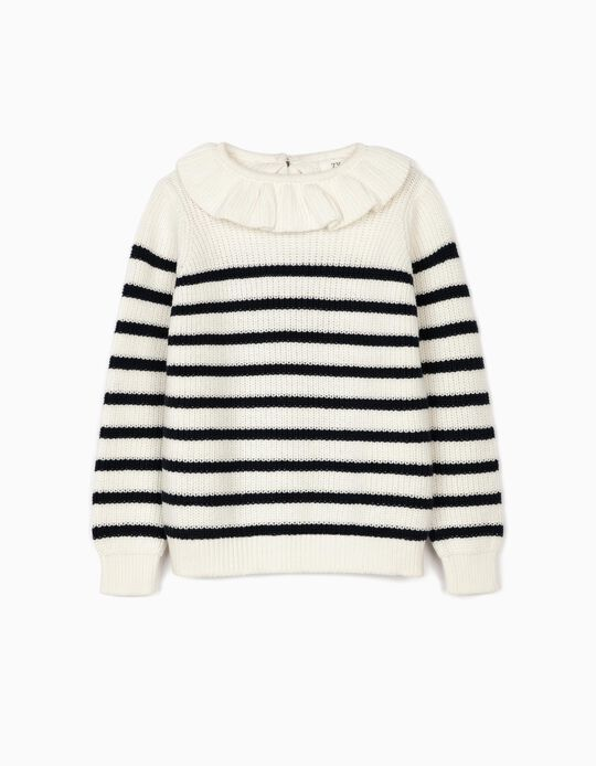 Striped Jumper for Girls, White/Blue