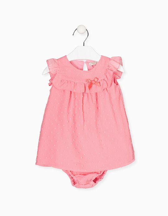 Vestido com Tapa-Fraldas para Bebé Menina LOSAN, Rosa