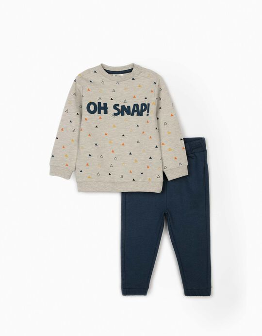 Tracksuit for Baby Boys, 'Oh Snap!' Grey/Blue