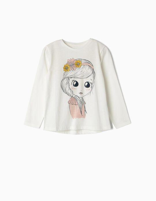 T-shirt Manga Comprida para Menina 'Flower Girl', Branco