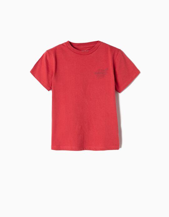 T-shirt para Menino 'FlyWorld', Vermelho