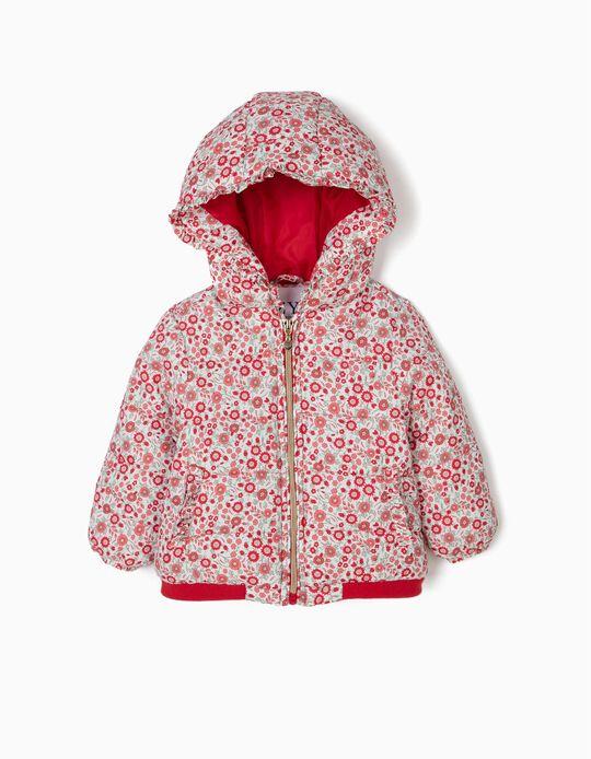Blusão Acolchoado com Capuz para Bebé Menina Flores, Branco e Vermelho