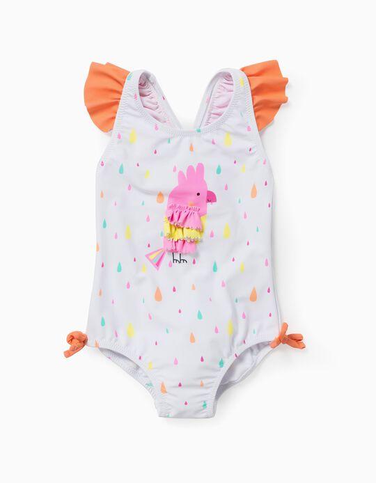 Fato de Banho Proteção UV 60 para Bebé Menina 'Bird', Branco/Laranja