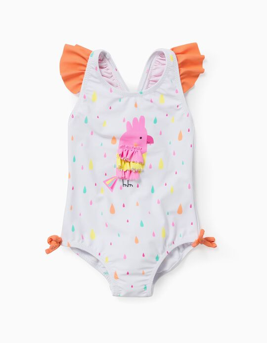 Swimsuit for Baby Girls, UV 60 Protection, 'Bird', White/Orange