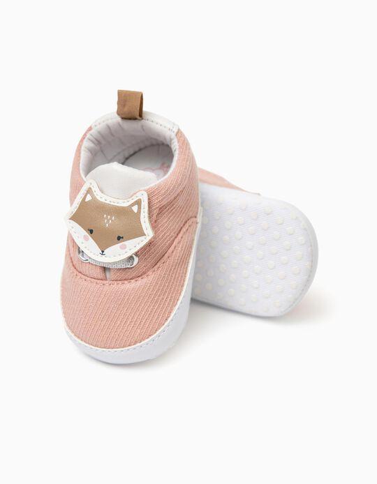 Sapatilhas Tecido para Recém-Nascida 'Baby Fox', Rosa