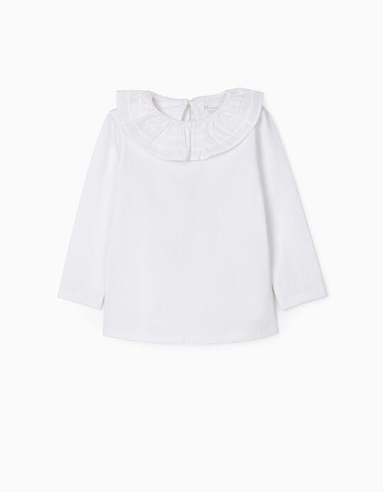 Camiseta de Manga Larga con Volante para Bebé Niña, Blanca