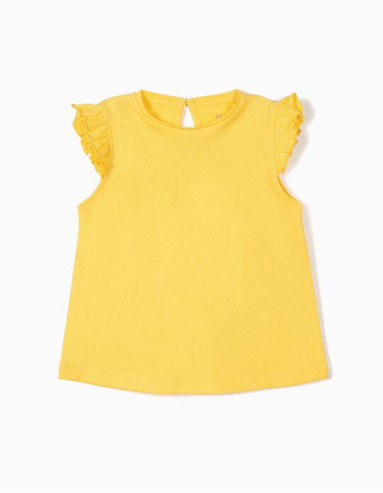 Camiseta para Bebé Niña con Volantes, Amarilla