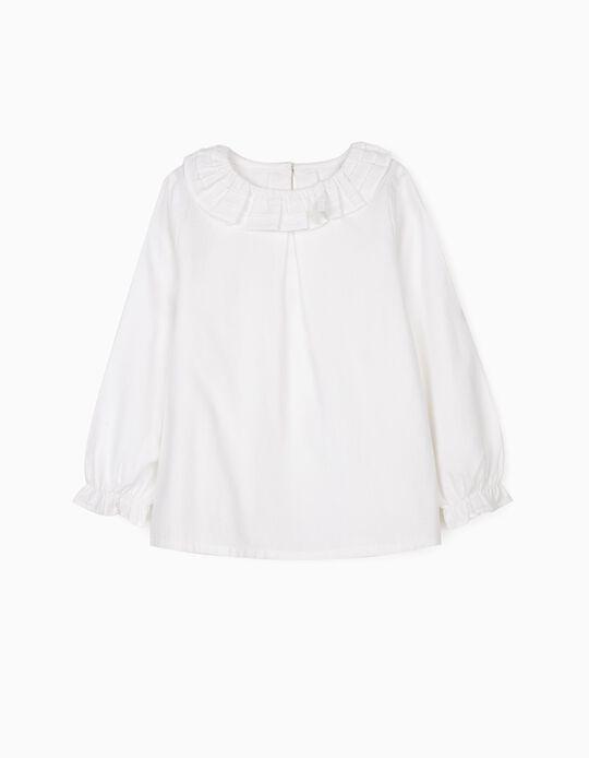 Blusa com Folhos para Menina, Branco