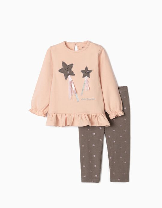 Sweatshirt + Leggings for Girls 'Shake for Wishes', Pink/Grey