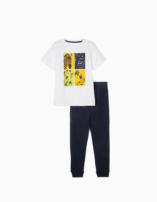 Short Sleeve Pyjamas for Boys, 'Animals', White/Dark Blue