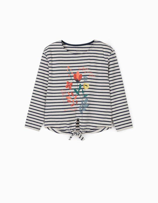 T-shirt Manga Comprida para Menina 'Fleurs', Branco/Azul