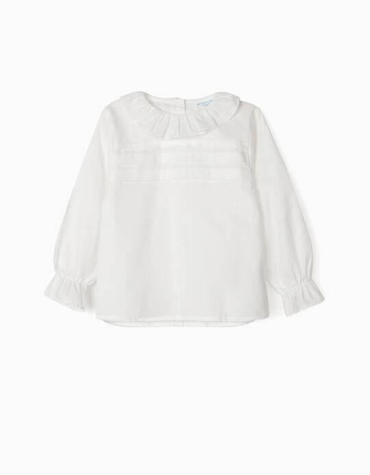 Blusa com Folhos para Bebé Menina 'B&S', Branco