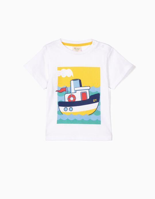 Camiseta para Bebé Niño 'ZY Boat', Blanco