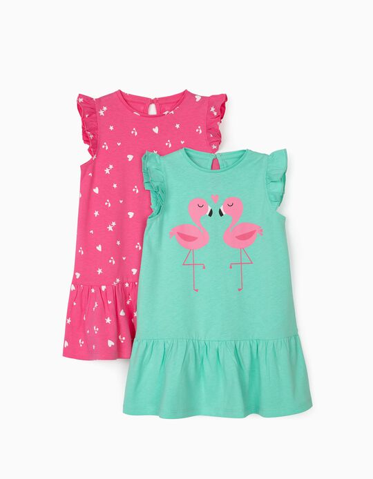 2 Jersey Knit Dresses for Baby Girls, 'Fish', Aqua Green/Pink