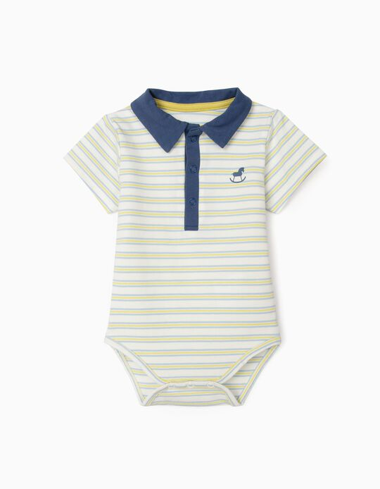 Polo-Bodysuit with Stripes for Newborn Baby Boys, Multicolour