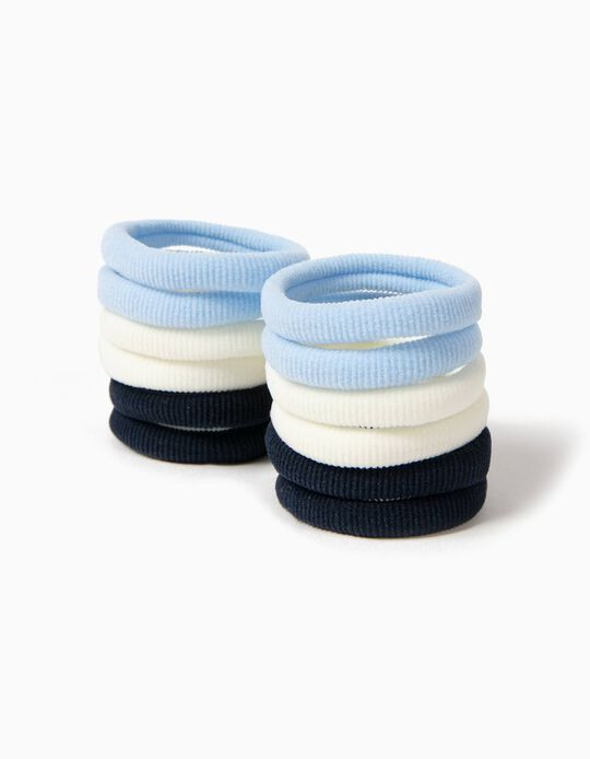 12 Gomas del Pelo Azul y Blanco