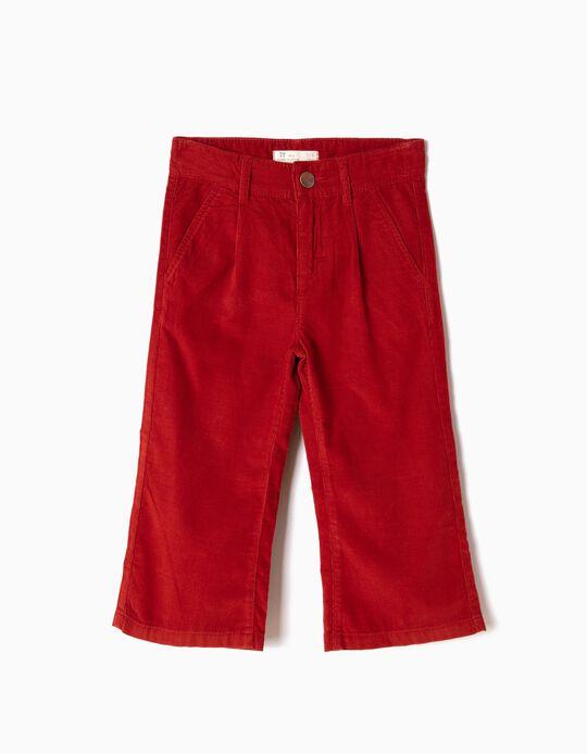 Falda Pantalón de Pana Rojo Ocre