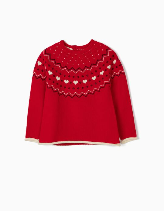 Pull maille fille 'Coeurs', rouge