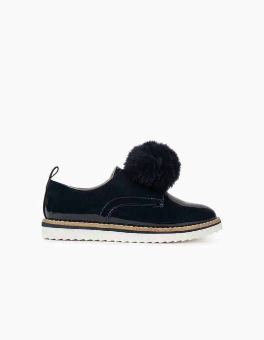 Zapatos de Charol para Niña con Pompón, Azul Oscuro