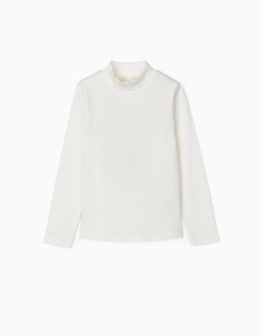 T-shirt Manga Comprida Canelada para Menina, Branco
